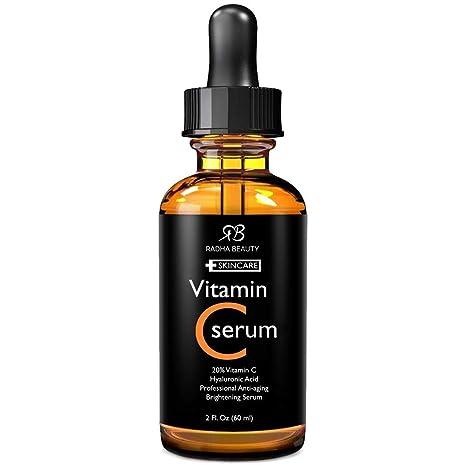Radha Beauty Suero Facial Serum Vitamina C Y Ácido Hialurónico, 20 Por Ciento De Vitamina C