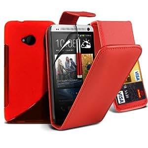 4-IN-1 Super Pack de accesorios HTC uno M7 superior de la PU 3 Crédito / Débito Slots flip cuero de la caja de la piel cubierta + Protector de pantalla Protector + S Line Wave Gel Case + Retractable Capacative pantalla táctil lápiz óptico (rojo) Por Spyrox