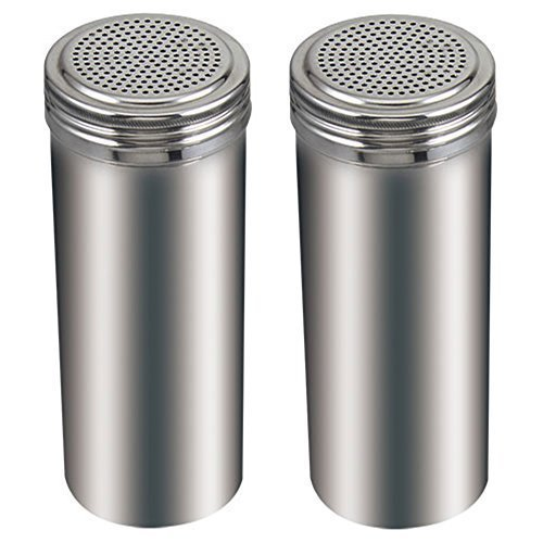 (Pack of 2) 22 Oz. Stainless Steel Dredge Salt / Sugar / Spice / Pepper - Shaker Dredge