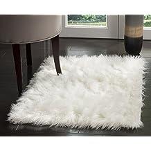 Safavieh FSS235A-2 Faux Sheep Skin Collection Handmade Ivory Area Rug, 2x3-Feet
