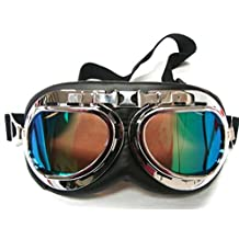 Oumers TMS WWII Raf Vintage Goggles,Aviator Pilot Style Motorcycle Cruiser Scooter Goggle,Bike Cafe Racer Cruiser Touring Half Helmet Goggles,Cool MTB Bicycle Summer Winter Snowboard Windproof Glasses