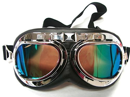 Oumers TMS WWII RAF Vintage Goggles, Aviator Pilot Style Motorcycle Cruiser Scooter Goggle, Bike Racer Touring Half Helmet Goggles, Cool MTB Bicycle Summer Winter Snowboard Windproof Glasses Colorful