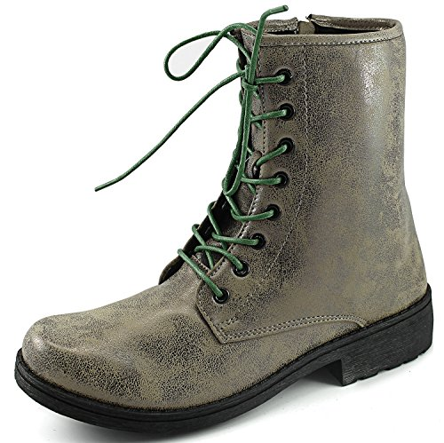 Womens Qupid Missile-04 Military Up Bootie Taupe Brz bxdP6sV