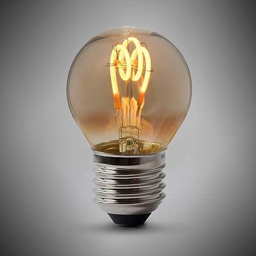 Bombilla LED Edison de 2 W, E27, diseño de pelota de golf, 1800