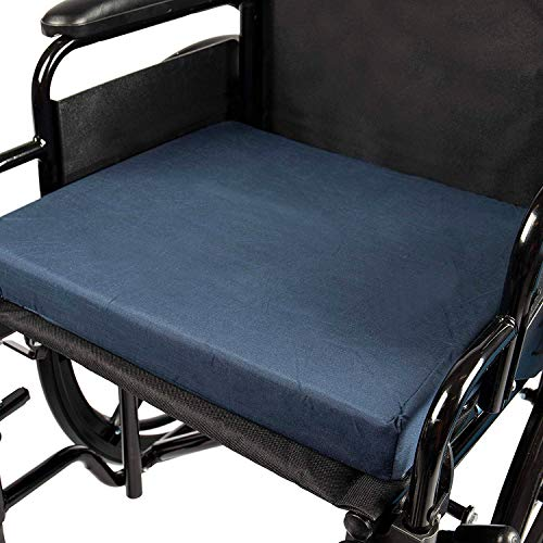 DMI Seat Cushion for Wheelchairs, Mobility Scooters, Office and Kitchen Chairs or Car Seats to Add Support and Comfort while Reducing Pressure and Stress on Back, 2 inches thick, 16 x 18, Navy Blue ()