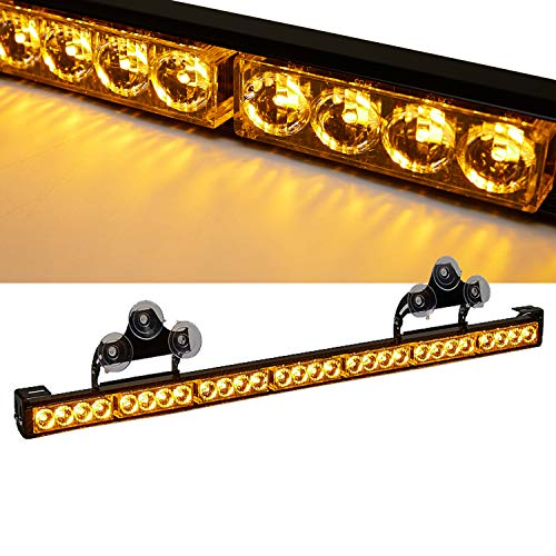 SmallfatW 32 Inch 28 LED Strobe Light Bar Car Truck Hazard Emergency Warning Windshield Flash Light Bar with Cigar Lighter and Suction Cups (Amber)