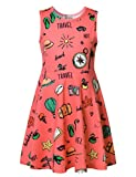 Jxstar Big Girl's Holiday Travel Dress Letter Print for Skater Beach Starfish Pattern sleeveless Dress Travel 150