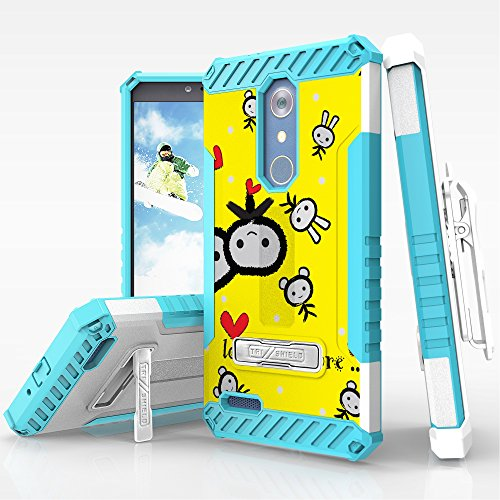 Spots8 ZTE Zmax Pro ZTE Carry Z981 Case Belt Clip Holster Kickstand Card Slot Heavy Duty Armor Military Grade Screen Protector White Light Blue TPU Love Me More
