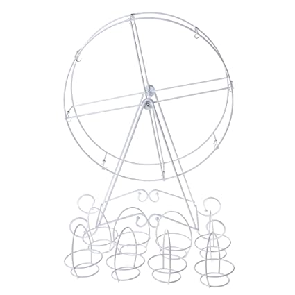 FlYHIGH 8 Copas Rotación de Metal Rueda de la Fortuna Cupcake Postre Soporte Titular de la
