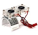 #4: Integy RC Model Hop-ups T8534SILVER Motor Heatsink + Twin Cooling Fan for Traxxas 1/10 Slash 4X4 (6808)
