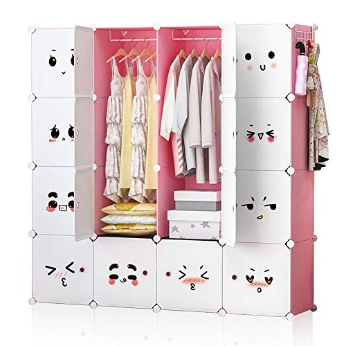 GEORGE&DANIS Portable Closet Wardrobe Plastic Dresser for Kids Teenagers Storage Cube Organizer Bookshelf Cabinet, Pink, 14 inches Depth, 4x4 Tiers