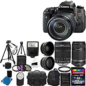 Canon EOS Rebel T6s 24.2MP Digital SLR Camera USA warranty with Canon 18-135mm f/3.5-5.6 EF-S IS STM Lens With Canon EF-S 55-250mm F4-5.6 IS STM Lens + 58mm 2x Professional Lens +High Definition 58mm Wide Angle Lens + Auto Power Flash + UV Filter Kit with