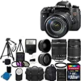 Canon EOS Rebel T6s 24.2MP Digital SLR Camera USA warranty with Canon 18-135mm f/3.5-5.6 EF-S IS STM Lens With Canon EF-S 55-250mm F4-5.6 IS STM Lens + 58mm 2x Professional Lens +High Definition 58mm Wide Angle Lens + Auto Power Flash + UV Filter Kit with 32GB Complete Deluxe Accessory Bundle