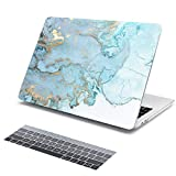 Batianda Light Blue Gold Marble Pattern Hard Protective Cover Case for New MacBook Pro 15 inch Touch Bar (Model:A1990/A1707 2018 2017 2016 Release) with Gradient Grey Keyboard Skin