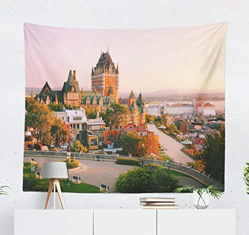 Kutita Tapestry Wall Hanging Castle Old Quebec City Beautiful Sunrise Light Canada Wall Tapestry Home Decorations for Bedroom Living Room Dorm Decor in 60