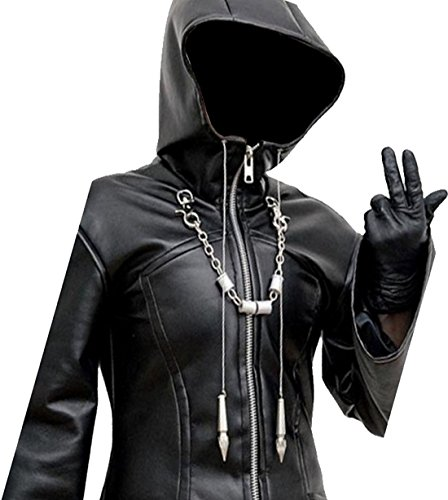 Organization XIII Jacket - Enigma Hooded Black Leather Trench Coat (XS, Black)