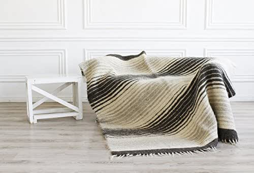Natural Wool Throw Blanket King Size Bed Sofa Cover Warm Heavy Striped Woven Decorative Plaid Living Room Scandinavian Home Decor