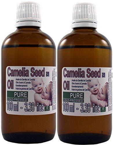 Set de dos (2) Botellas de Aceite Puro de Camelia 100% puro, 100% Natural. Total 200ml (100ml cada botella) botella de vidrio ámbar. Patagonian Cosmetics