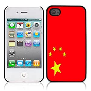 Chinese flag Hard Plastic and Aluminum Back Case for Apple iphone 4 4S
