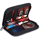 King Of Flash Multi-Purpose Wallet Carrying Case for USB Flash Drives, Cables, Cards & Pen Cover With Premium Quality Padded Protection for Accessories - Black