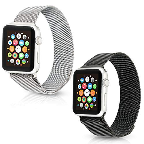Tranesca Fully Adjustable Watch Band with Magnetic Clasp Made of Top Grade Stainless Steel for 42mm Apple Watch Series 3 2 1(2 Pack, Silver+Black)