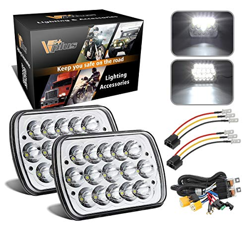 2PCS 7x6 5x7 inch LED Headlights 6054 H6054 w/ H4 Headlight Relay Harness Sealed Beam Compatible with Toyota 95-97, Tacoma 88-95 Pickup, Chevy Express Van - Van Econoline Ford 1988 88