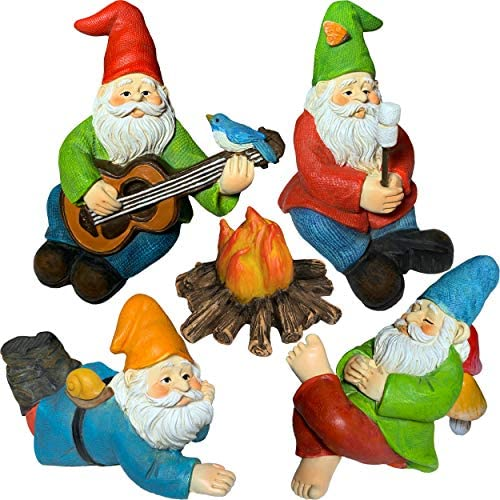 Mood Lab Miniature Garden Gnomes – Camping Gnome Kit of 5 pcs – Figurines and Accessories Set
