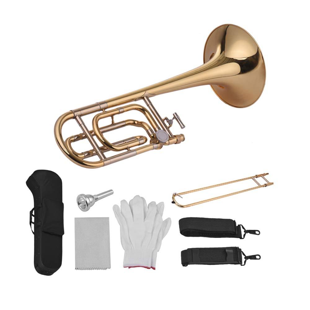 Festnight Trombone, Intermediate Bb Flat Tenor Slide Trombone with F Attachment Including Mouthpiece Carry Case