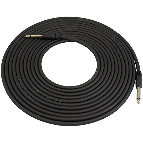 GLS Audio 20 Foot Guitar Instrument Cable Slim-Grip Series - 1/4 Inch TS To 1/4 Inch TS Black Rubber Molded Patch Cable - 20 Feet Pro Cord - SINGLE
