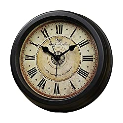 Classic Retro Clock,JUSTUP European Style Vintage Silent Desk Clock Non Ticking Quartz Movement Battery Operated , HD Glass Lens, Easy to Read (SZ-G01)
