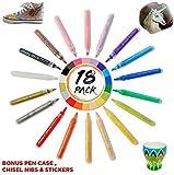 SONTESSA 18 Paint Pens - Acrylic Paint Marker Pens for Rock Painting, Wood, Fabric, Glass, Ceramic, Metal, DIY, Art & Craft for Adults & Kids Bonus Pen case, Chisel nibs & Stickers.
