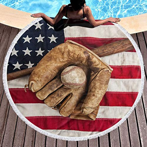 (Trikahan Beach Towel USA Flag Baseball Towels with Tassel Microfiber Oversized Round Picnic Mat Tapestry Table Cover Blanket)