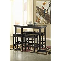 Kimenta Dark Brown Wood Dining Room Counter Table & Four Dark Brown Upholstered Barstools