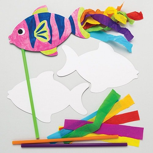 Baker Ross Fish Wand Kits (Pack of 6) Sea Life Themed Craft for Kids to Make & Decorate