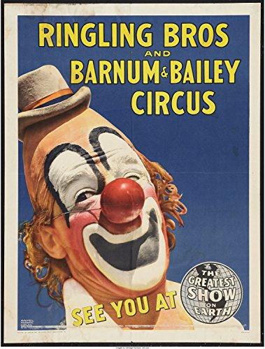 11 x 14 Old Tin Sign Circus Poster (Ringling Brothers And Barnum & Bailey, Early 1944
