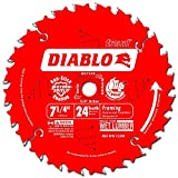 Freud D0724X Diablo 7-1/4-Inch 24 Tooth ATB Carbide Framing Saw Blade with 5/8-Inch and Diamond Knockout Arbor фото