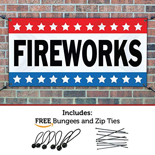 (HALF PRICE BANNERS | Fireworks Vinyl Banner -Indoor/Outdoor 4X8 Foot -Stars | Includes Ball Bungees & Zip Ties | Easy Hang Sign-Made in USA)
