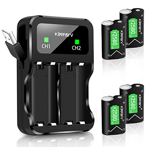 (KINFAYV Xbox One Battery Pack 4 x 2580mAh Rechargeable Controller Battery and Charger Compatible with Xbox One/Xbox One S/Xbox One X/Xbox One Elite Wireless Controller)