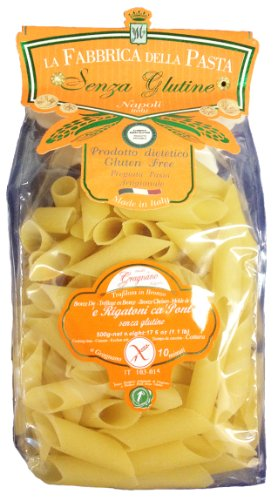 La Fabbrica Della Pasta Gluten Free Rigatoni ca Pont (Bias Cut) 500 Grams (1.1 lb) Bag Pack of 2 (Gluten Free Pasta From Italy compare prices)