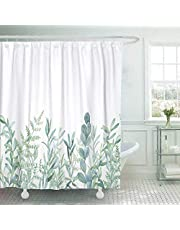 Jasion Green Eucalyptus Leaf Watercolor Floral Plant Pattern Spring Botanical Shower Curtain Set Waterproof Fabric Bathroom Curtains Home Bath Decor with 12 Hooks 72 X 72 Inches