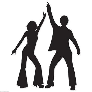 amazon com funky 70 s disco dancing couple silhouettes party wall rh amazon com Disco Silhouette Disco Floor