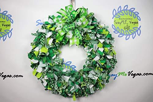 (St. Patricks Day Rag Wreath, St. Patty's Day Fabric Wreath, Clover Wreath, Leprechaun Wreath, Shamrock)