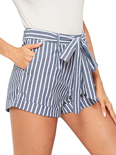 SweatyRocks Women's Casual Elastic Waist Seft Tie Summer Beach Shorts with Pockets Light Blue Medium