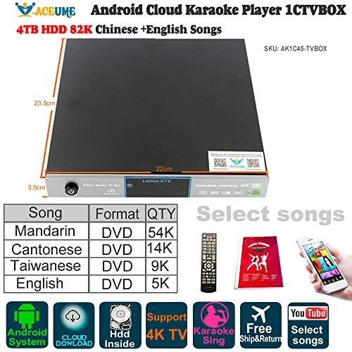 4TB HDD 87K Chinese English Songs,Android Cloud Karaoke Player,Watch TV,KODI,YouTube Songs Sing,卡拉OK點歌機,安卓播放器,云下載