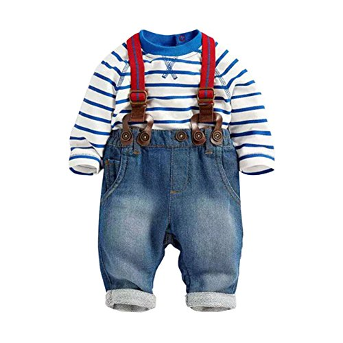 Costumes With Bib Overalls (Timall Baby Boy 2PCS Set T-shirt Top+Jeans Bib Pants Overall Outfis Costume 3M-2Y)