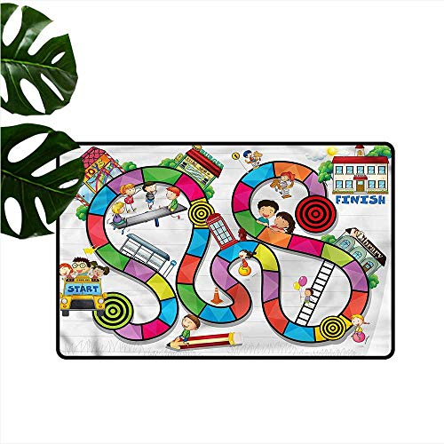 - Interesting Doormat Board Game Kids Play Notebook Paper Easy to Clean W16 xL24