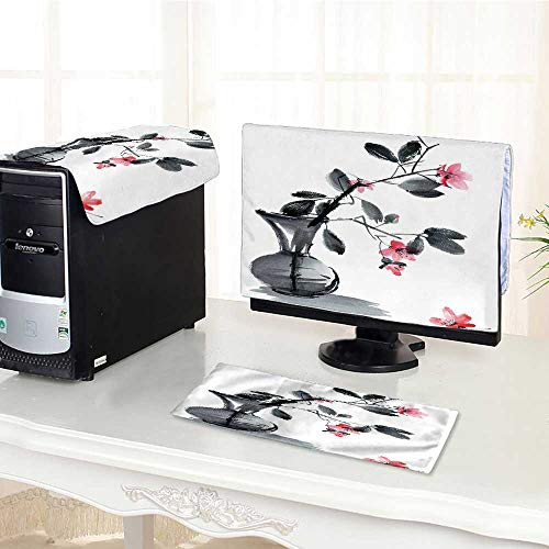 UHOO2018 Keyboard dust Cover Computer 3 Pieces and Ink of Sakura Flowers and Leaves in vase Computer dust Cover /26