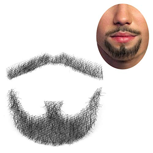 ExGizmo Fake Man Mustache Word Simulation Of 100% real Human Hair Makeup Facial Hair Wig]()
