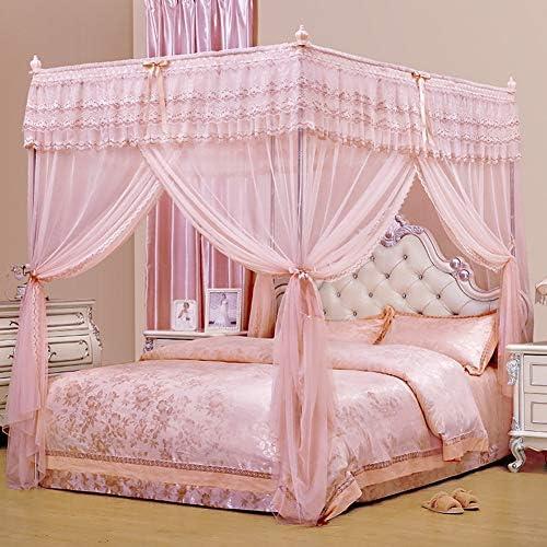 蚊キャノピーネット,女の子のための4コーナーポストベッドカーテン 3ステンレス鋼サポート付き蚊帳を開く -d