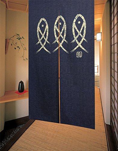 Fish Door - Noren Japanese Doorway Curtain 85x150cm Curtains fishes Door Style 12